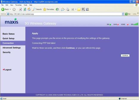 Maxis 3g interface